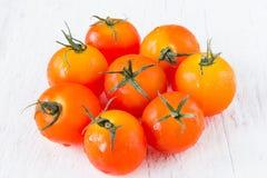 Frische rote Tomaten auf weißem Holztisch Stockbilder