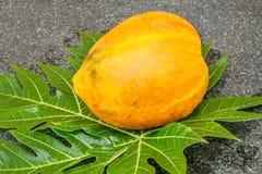 Frische süße Papayafrucht und Papaya treiben auf einem Granittisch Blätter Stockfotografie
