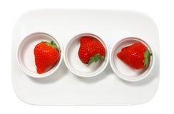 Frische saftige Erdbeere drei Stockfoto