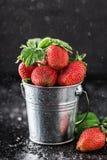 Frische saftige Erdbeeren mit Blättern Viele hellen, sind frische Beeren einer Erdbeere Gesundes Nahrungsmittelkonzept Frische or Stockbilder