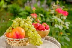 Frische saftige Frucht auf dem natürlichen Hintergrund Lizenzfreies Stockbild