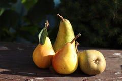 Frische, saftige, geschmackvolle organische Birnen auf altem Holztisch, freier Raum für Text Fallfrucht auf Holz Es sieht wie ein Lizenzfreie Stockfotos