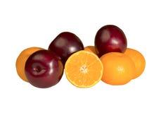 Frische, saftige Mandarinen und Pflaumen Stockbilder
