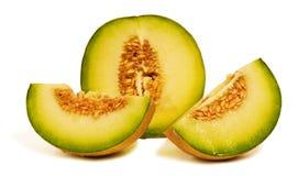 Frische saftige Melonen: Galia, Kantalupe Stockfoto