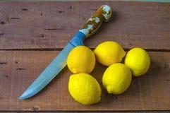 Frische saftige Zitrone auf den Salat und frisch für die Fische, Stockfotos