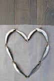 Frische Sardine in der Herzform Stockfoto