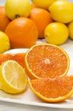 Frische Schnittzitrone und -orange Stockbilder