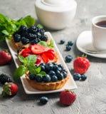 Frische selbst gemachte berrie Törtchen lizenzfreies stockbild