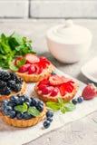 Frische selbst gemachte berrie Törtchen stockfotos