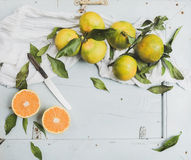 Frische türkische Tangerinen mit Blättern über blauem rustikalem hölzernem Hintergrund, Draufsicht Stockbild