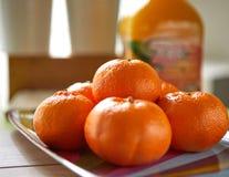 Frische Tangerinen, Schuss im natura lizenzfreies stockfoto