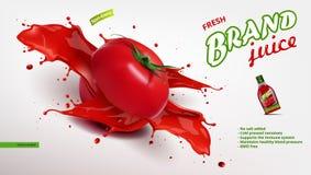 Frische Tomate Juice In Glass Bottle With Juice Splash Stockbild