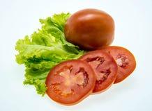 Frische Tomate und grüner Salat Stockfotografie