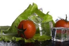 Frische Tomate und grüner Salat mit nassen Eiswürfeln auf schwarzer Tabelle a Stockfoto