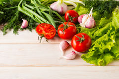 Frische Tomate und Knoblauch, Platz für Text Stockfotografie