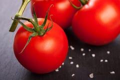 Frische Tomaten in der Holzkiste Lizenzfreies Stockbild