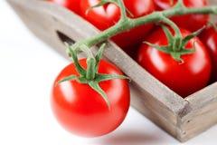Frische Tomaten in der Holzkiste Stockbilder