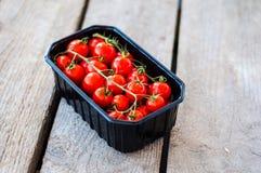Frische Tomaten im Kasten stockfotografie