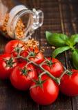 Frische Tomaten mit Basilikum und Gewürze rütteln auf Schmutzbrett Lizenzfreies Stockbild