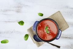 Frische Tomaten-Suppe mit Basil Leaves Lizenzfreie Stockbilder