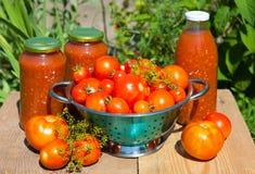 Frische Tomaten und selbst gemachte Tomatensauce Stockfoto