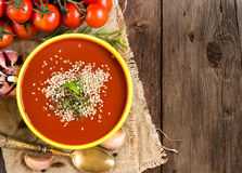Frische tomatoe Suppe Stockbilder