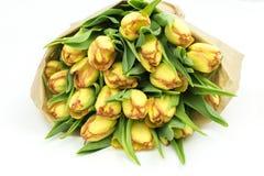 Frische Tulpen in einem Papierblumenstrauß stockbild