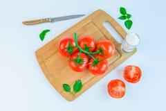 Frische und reife Tomaten, Basilikum, Salz und Messer auf Schneidebrett Lizenzfreies Stockfoto