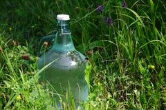 Frische und Trinkwasserflasche im hohen Gras Lizenzfreie Stockfotografie