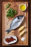 Frische ungekochte dorado Fische mit Bestandteilen lizenzfreies stockbild