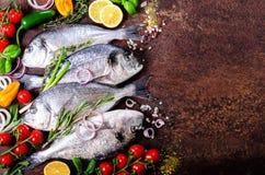 Frische ungekochte Fische, dorado, Seebrassen mit Zitrone, Kräuter, Gemüse und Gewürze auf rustikalem Hintergrund Beschneidungspf Lizenzfreies Stockbild