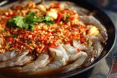 Frische würzige Kalkgarnele - Asien-Lebensmittel Stockfotografie