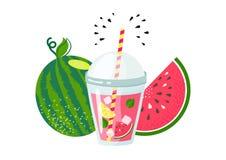 Frische Wassermelonensommerlimonade stock abbildung