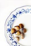 Frische weiße Muscheln auf Platte Stockbild