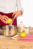 Zitrone auf der Raspel lizenzfreie stockfotografie