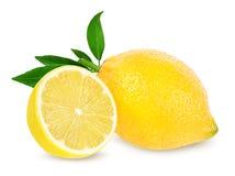 Frische Zitrone getrennt auf Weiß Stockfotos