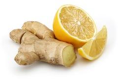 Frische Zitrone mit Ingwer stockbilder