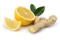Frische Zitrone mit Ingwer Stockbild