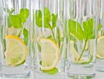 Frische Zitrone und Minze im Glas Stockfotos
