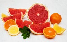 Frische Zitrusfrüchte mit grüner Minze lizenzfreie stockbilder