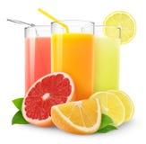 Frische Zitrusfruchtsäfte Stockfotografie
