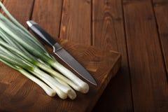 Frische Zwiebeln und Messer Stockfotografie