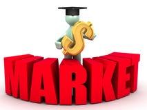 Frischer Absolvent und der Markt Stockbild