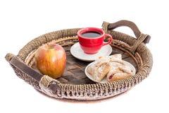 Frischer Apfel, Gebäck und Kaffee zum Frühstück Lizenzfreies Stockfoto