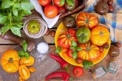 Frischer Basilikum und Tomaten stockfoto