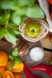 Frischer Basilikum und Tomaten lizenzfreie stockbilder