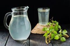 Frischer Birkensaft in einem Krug und ein Glas und Birkenzweige Stockfotos