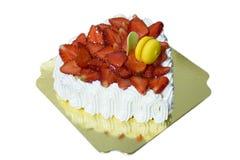 Frischer Erdbeervanille Schicht-Creme Kuchen stockbild