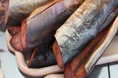 Frischer Feinschmecker des geräucherten Rotlachslebensmittels gegrillt lizenzfreies stockfoto