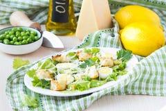 Frischer Frühlingssalat mit Kopfsalat, Eier, Käse, Croutons, grün stockbild